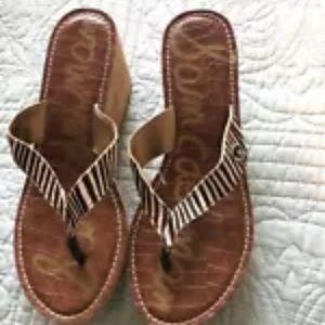 Sam Edelman Romy Brown Cream Stripe Strap Sandals